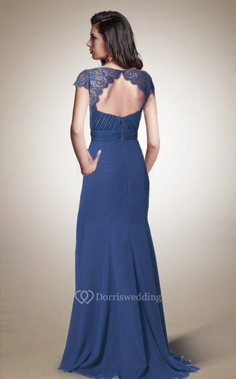 Queen Anne Neck Long Chiffon Dress With Keyhole Back - 2