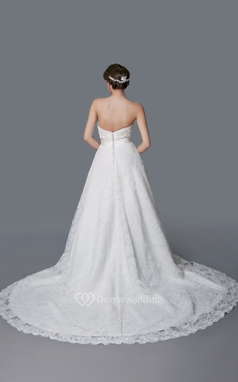 Gorgeous Sweetheart Backless Satin and Lace Ball Gown - 3