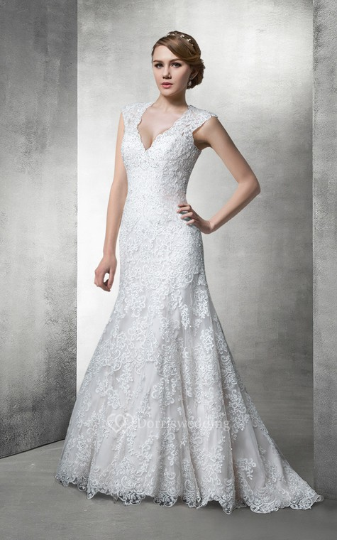 Fit and Flare Lace Wedding Gown With Plunging Neckline - 1