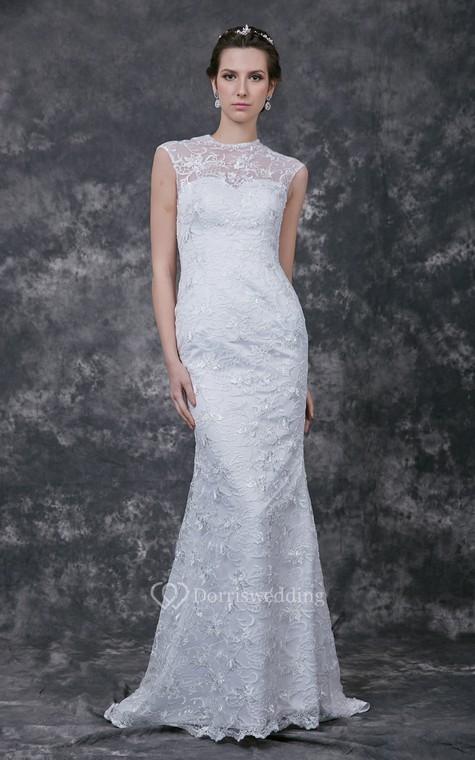 Sophisticated Cap-sleeved High Neck Slim-line Lace and Charmeuse Wedding Gown - 5