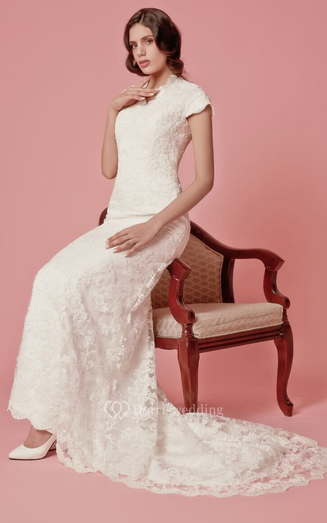 Vintage Inspired Scallooped-Edge Neckline Column Lace Bridal Gown - 2
