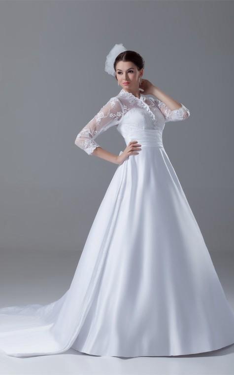 Exquisite Long Sleeve High Neck Satin Appliqued a Line Wedding Dresses - 4