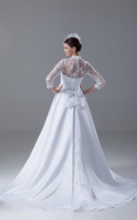 Exquisite Long Sleeve High Neck Satin Appliqued a Line Wedding Dresses - 8