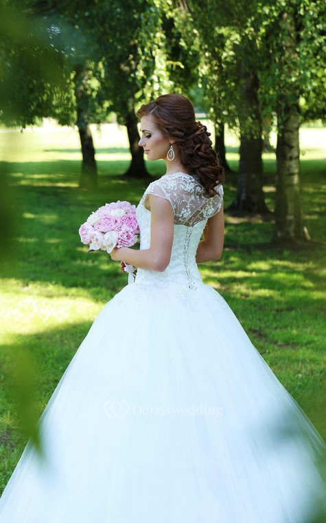 Lace-Bodice Tulle Cap Sleeve A-Line Bridal Gown With Illusion Back - 4
