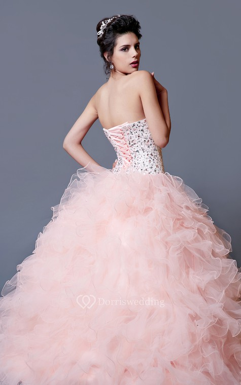 Elegant Crystal Ruffled Quinceanera Dress With Jacket - 4