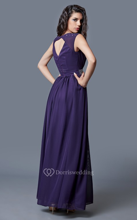 Beaded Cap-sleeved Bateau Neck Ruched Long Chiffon Dress - 3
