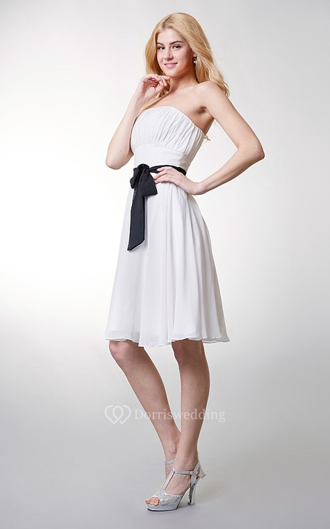 Classic Top-ruched Strapless Layered A-line Chiffon Dress - 2