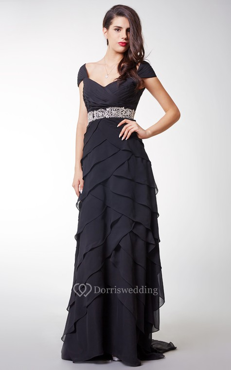 Short-sleeved Ruffled Chiffon A-line Long Formal Dress With Waistband - 4