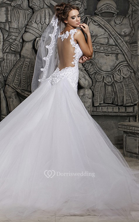 Magnificent Lace and Tulle Mermaid Dress with Wedding Veil - 2