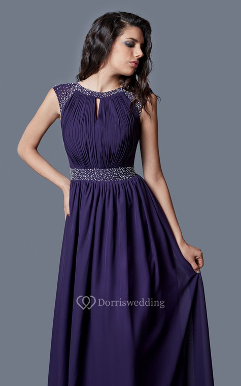 Beaded Cap-sleeved Bateau Neck Ruched Long Chiffon Dress - 2