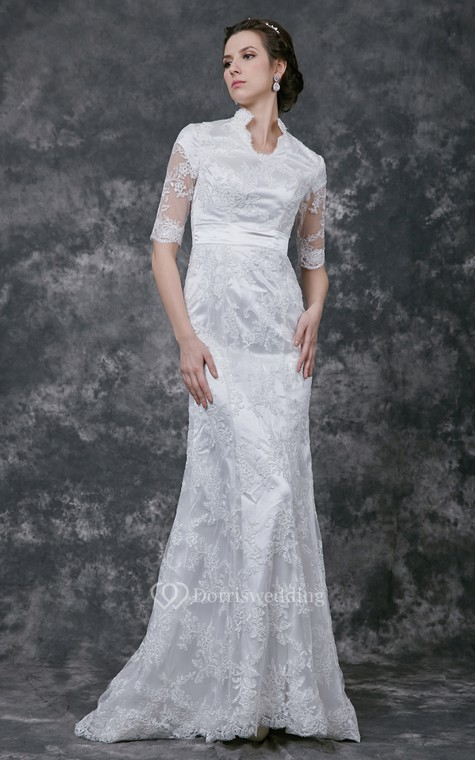 Vintage Scalloped-Edge Neckline Lace Bridal Gown with Half Sleeves - 2