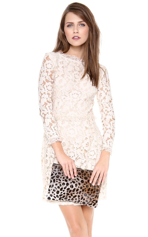 Short Long-sleeved Scooped Sheath Lace Dress - 5