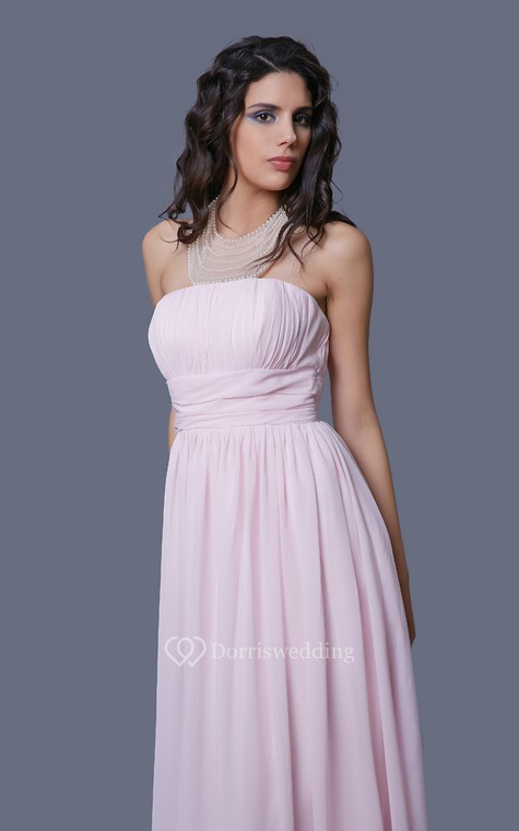 Feminine Strapless Empire-waisted Prom Gown with Pleats - 5