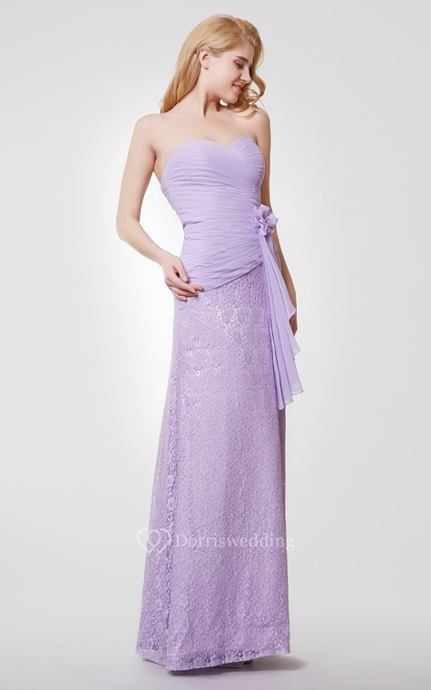 Sweetheart Backless Floral Long Chiffon and Lace Dress - 4