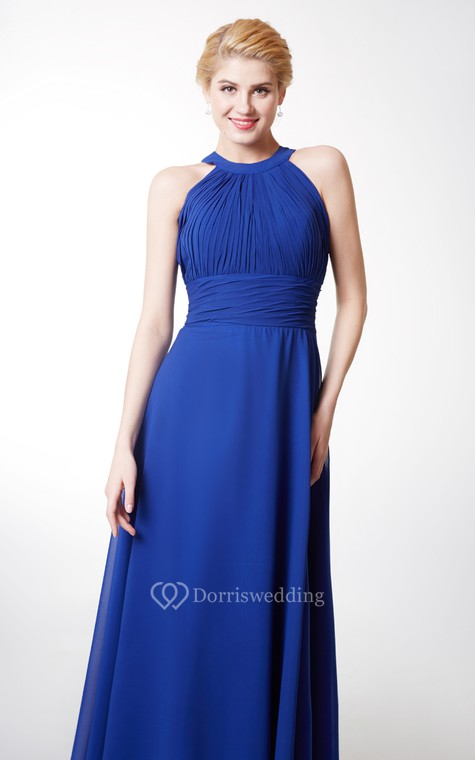 Chic High Neck Chiffon Gown With Ruching and Keyhole - 5