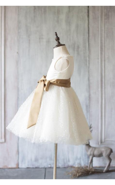 Jewel Neck Sleeveless Empire A-line Knee Length Tulle Dress With Satin Sash - 3