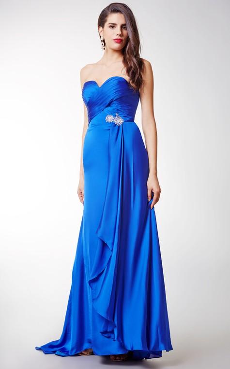 Long Sexy Brooched Satin Chiffon Dress - 4