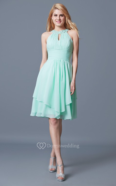 Elegant Sleeveless Tiered Knee Length Chiffon Dress With Keyhole Back - 1