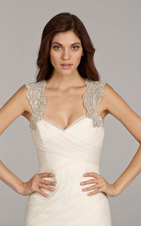 Stunning Sleeveless Ruched Flounced Dress With Beaded Embellished Keyhole Back - 4