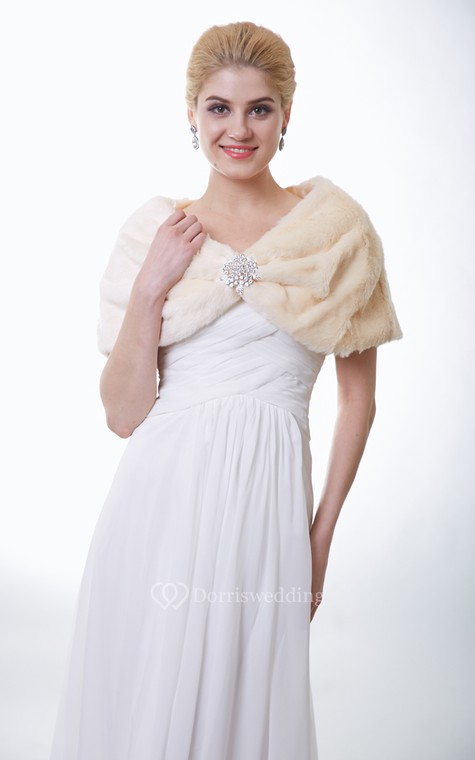 Champagne Faux Fur Bridal Wrap With Crystal Brooch - 1