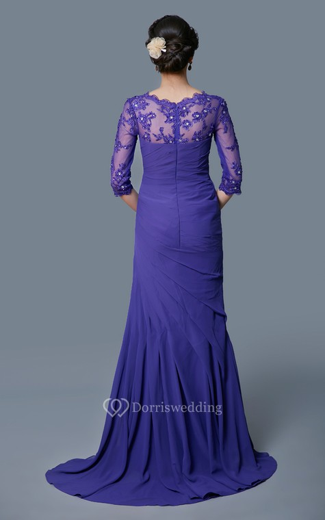 Classic A-line Long Formal Chiffon Dress With Lace Sleeves - 2