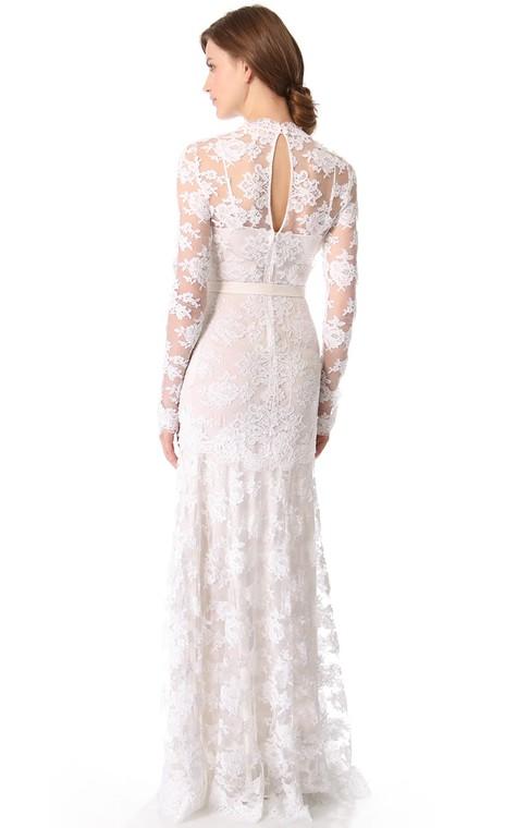Unique Long Sleeves Long Low-V Sheath Lace Dress - 2