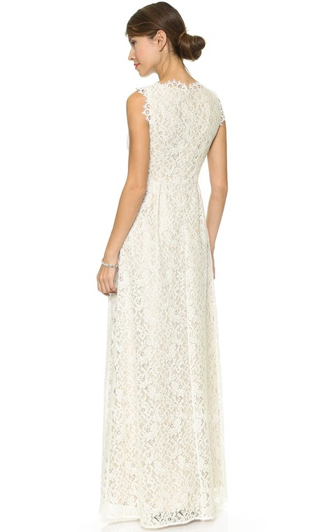 Long Neckline Sheath Lace Dress With Side Draping - 2
