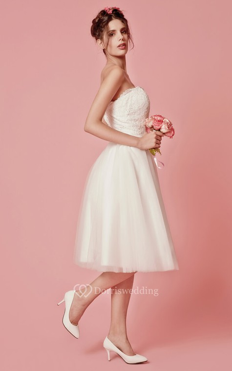 Aristocratic Cap-sleeve High Neck Tea-length Dress With Lace Top - 7