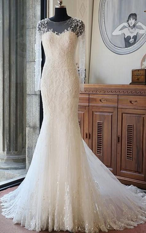 Tea-Length Off-The-Shoulder One-Shoulder Long Sleeve Chiffon Sequins Satin Dress - 1