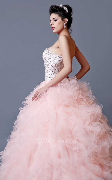 Elegant Crystal Ruffled Quinceanera Dress With Jacket - 5