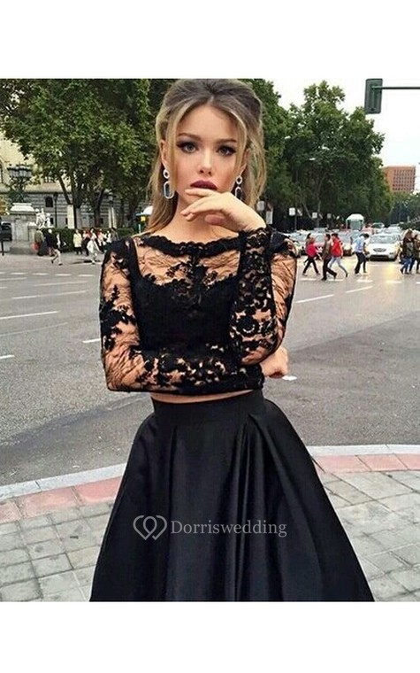 Ball Gown Long Sleeves Bateau Satin Floor-Length Dresses - 2