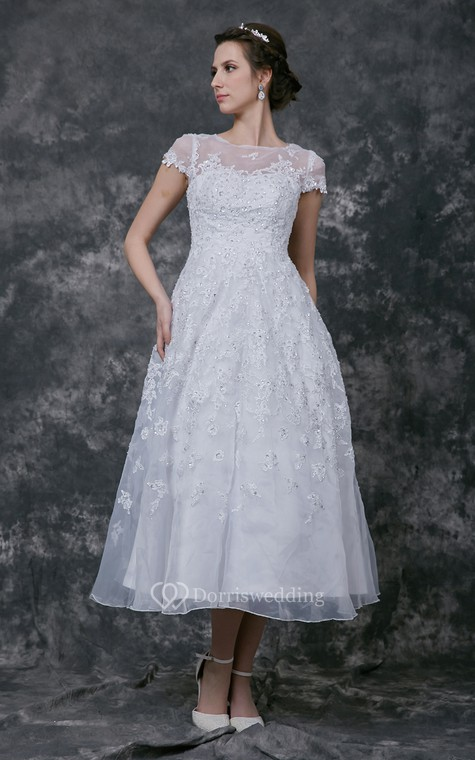 Modern Cap-sleeve Dress With Illusion Neckline and Beaded Lace Applique - 1