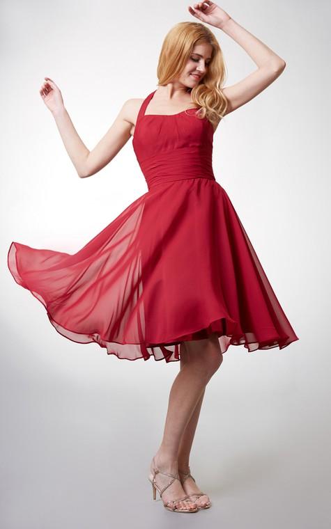 Elegant Halter Style Soft-pleated Layered A-line Chiffon Dress - 2