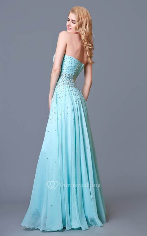 Glam Chic Beaded Sweetheart Layered A-line Chiffon Prom Gown - 4