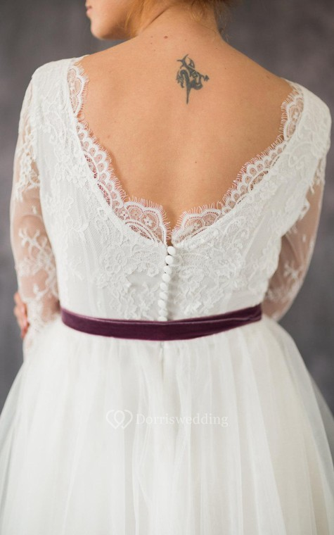 3-4 Sleeve A-Line Lace and Organza Dress With Bateau Neckline and Satin Sash - 5