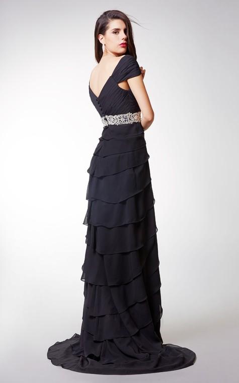 Short-sleeved Ruffled Chiffon A-line Long Formal Dress With Waistband - 2