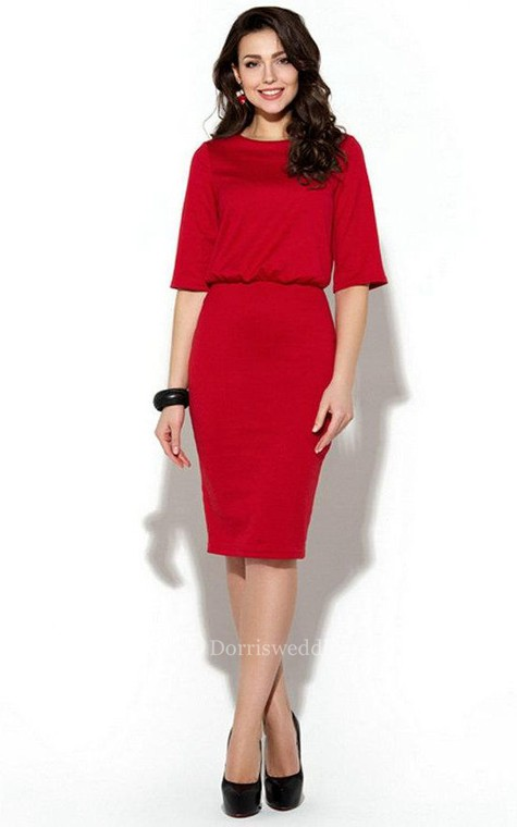 Bateau Half Sleeve Sheath Jersey Knee Length Dress - 3
