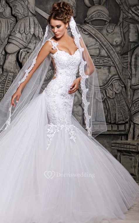 Magnificent Lace and Tulle Mermaid Dress with Wedding Veil - 3