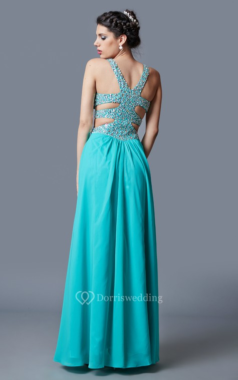 Stunning Sleeveless Long Chiffon Gown with Sequined Bodice and Side Cutouts - 3