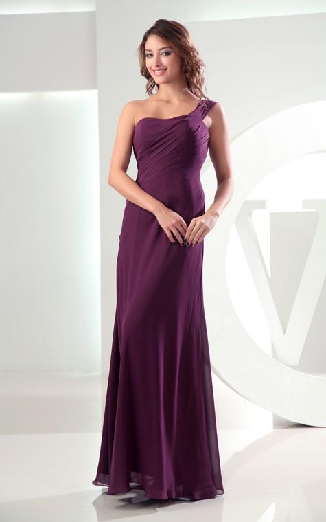 Adorable Chiffon Sleeveless Floor-Length Dress With Ruching - 1