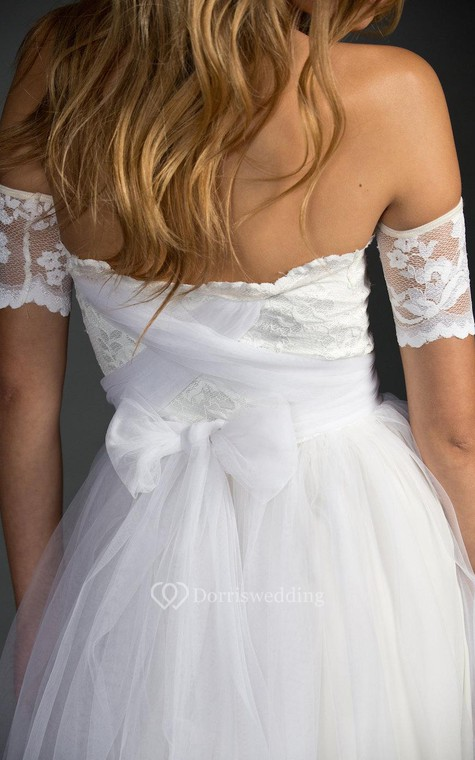 Off-The-Shoulder A-Line Tulle Dress With Lace Bodice - 5