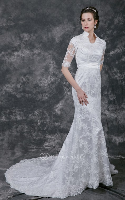 Vintage Scalloped-Edge Neckline Lace Bridal Gown with Half Sleeves - 4