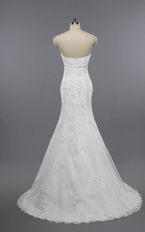 Mermaid Floor-Length Sweetheart Sleeveless Bell Appliques Zipper Keyhole Tulle Lace Dress - 2