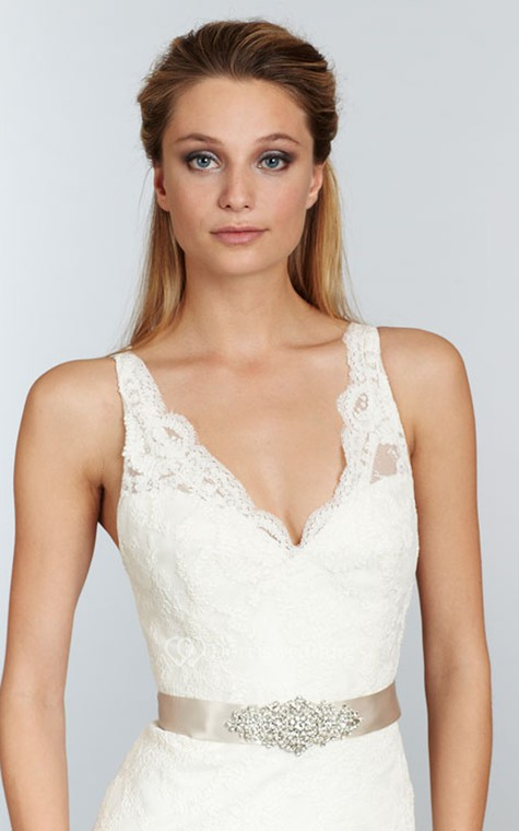 Stunning V-Neck Long Lace Dress With Crystal Ribbon Sash - 3