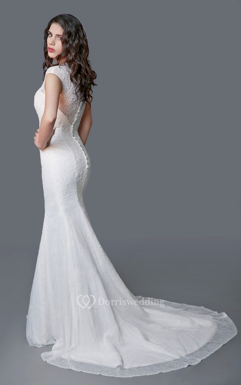 Ethereal Cap Sleeve Long Lace Sheath Dress - 2