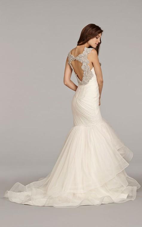 Stunning Sleeveless Ruched Flounced Dress With Beaded Embellished Keyhole Back - 2
