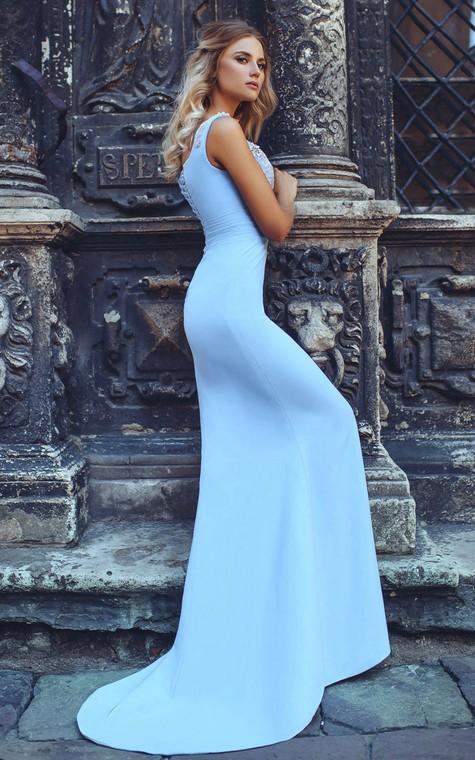 Mermaid Sweep V-Neck Short Sleeve Jersey Beading Pleats Lace-Up Dress - 2