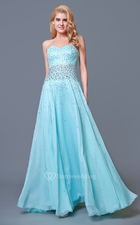 Glam Chic Beaded Sweetheart Layered A-line Chiffon Prom Gown - 1