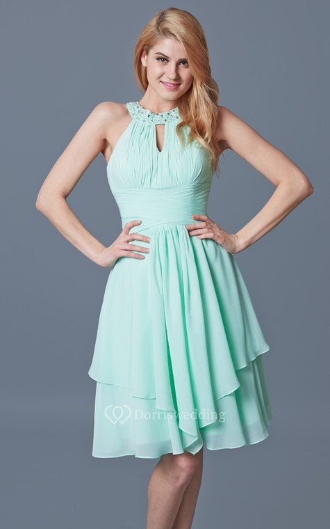 Elegant Sleeveless Tiered Knee Length Chiffon Dress With Keyhole Back - 5