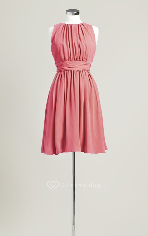 Sleeveless A-Line Short Dress With Jewel Neck - 5